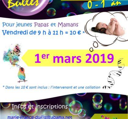 """Atelier """"Bulles"""" autour de la musicothérapie – Vendredi 1er mars 2019"""