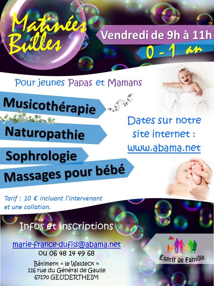 """Matinées Bulles """"Musicothérapie"""" avec la Menuiserie Zen de Haguenau – Vendredi 15 mars à 9 h"""