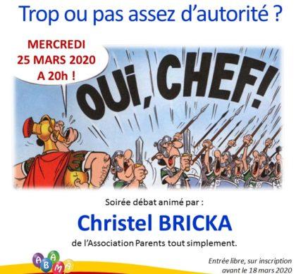 Soirée parentalité avec Christelle Bricka (reportée)