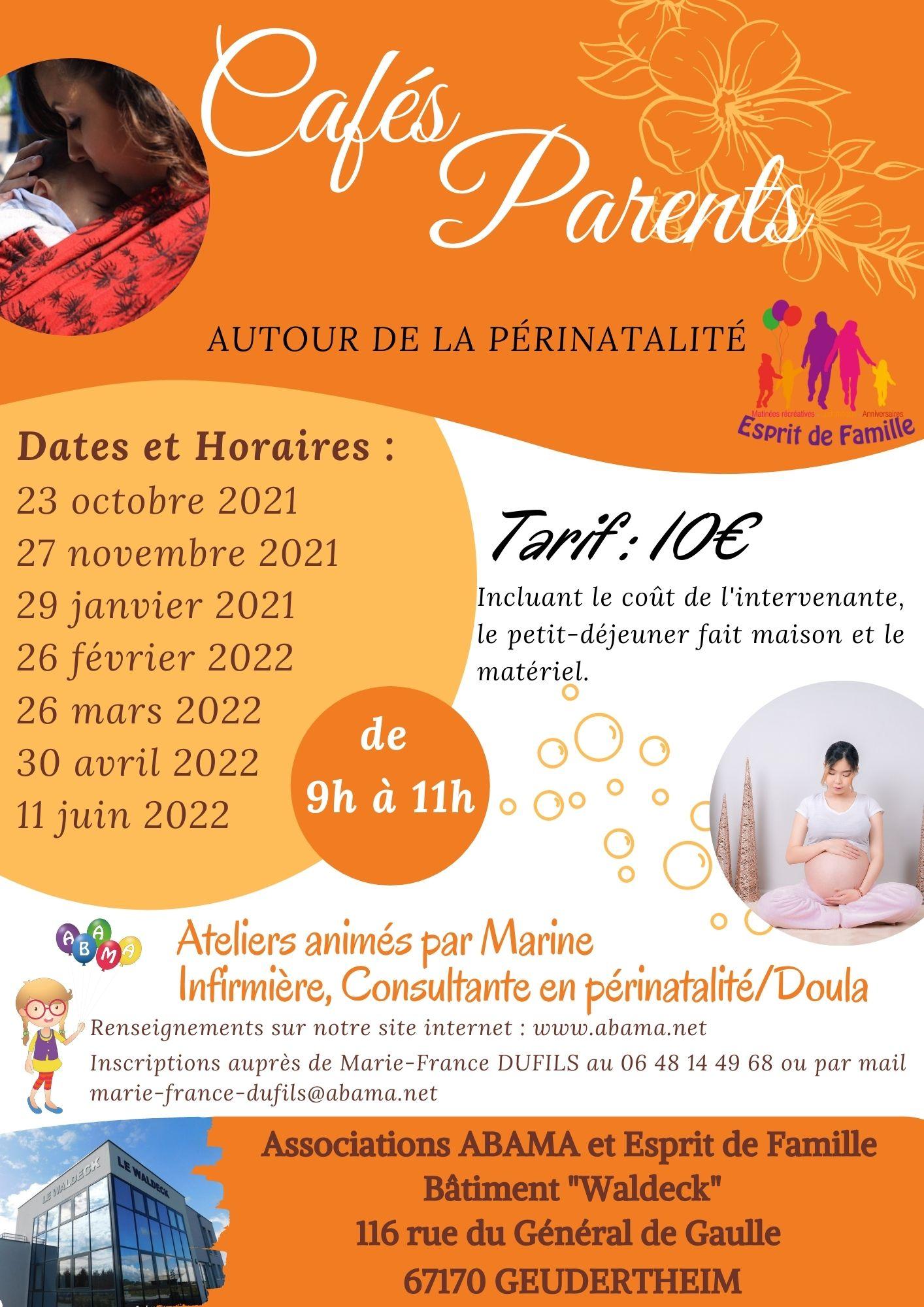 """Nouveau pour la rentrée : Les cafés-parents autour de la périnatalité. (Dates à découvrir sur l'onglet """"calendrier"""")"""
